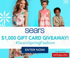 Win a $50 Sears Gift Card + Save 15% Today #SearsSpringFashion FreeCoupons.com   We're giving away $1,000 worth of gift cards to Sears! 20 winners will receive a $50 gift card to Sears! Enter HERE!  Giveaway Details: Wedne...