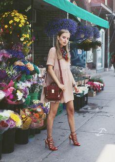Sonya Esman | Pastal Dress | Work Outfits #StreetStyle #StreetFashion #EverydayOutfits | Style Inspiration http://www.pinterest.com/vinkkiez/street-fashion/