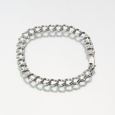 Silver Double Link Charm Bracelet