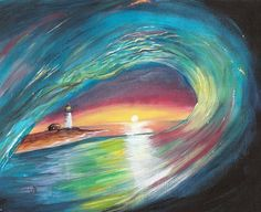 Sunset Surf 8 x 10 Sunrise Ocean Lighthouse Wave Sea Acrylic Art EBSQ Caat | eBay