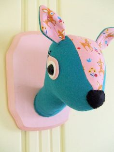 Faux Taxidermy - Pink and Blue Doe by misfitmenagerie via @Etsy!