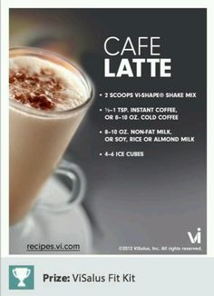 The best ViSalus shake!  I make this one with French vanilla coffee or Mocha flavor... My breakfast most mornings... Yum... :). Comment if you would like me to send you a sample... :)