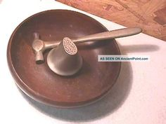 Antique Parsons Wood Nut Bowl & Hammer Nutcracker Bowls photo
