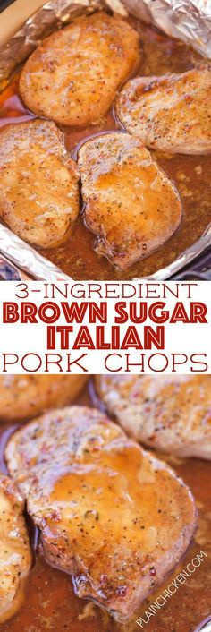 3-Ingredient Brown Sugar Italian Pork Chops - seriously THE BEST pork chops EVER! Only 3 ingredients and ready in under 30 minutes!! Pork chops, brown sugar, Italian dressing mix. There are never any leftovers. We make these at least once a month. SO good