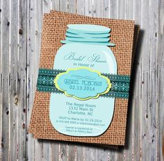 Printable Mason Jar Invites | Printable Mason Jar Bridal Shower Invitation Burlap-DIY-Rustic ...