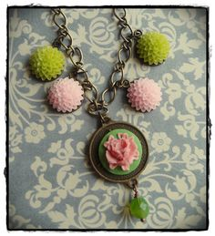 New necklace I just listed to etsy. Green and Pink Flower Charm Necklace, $24.00