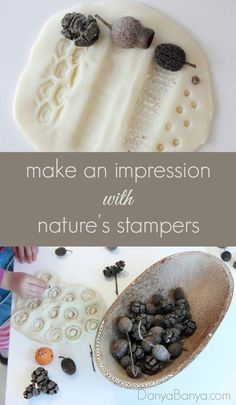 Use found natural items as nature's stampers to make fun impressions in play dough. Fun activity for toddlers and preschoolers (and mums!)