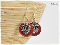 Herz Ohrringe rot von Eulenfee -  Schmuck von Modern-Style bis Vintage-Look auf DaWanda.com