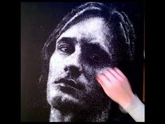 Drawing a portrait with salt -time lapse