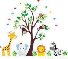 Tree Wall Decal Nursery Wall Decal Baby Wall by StickEmUpWallArt, $195.00