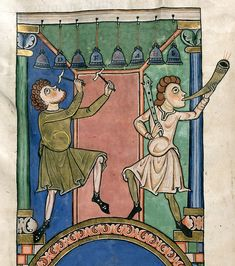 Bible, Harley 2804, f. 3v, Germany, 2nd or 3rd quarter of the 12th century, probably c. 1148. Www.bl.uk/catalogues/illuminatedmanuscripts/record.asp?MSID=7861&CollID=8&NStart=2803. OBS! Skalan skriven på klockorna.