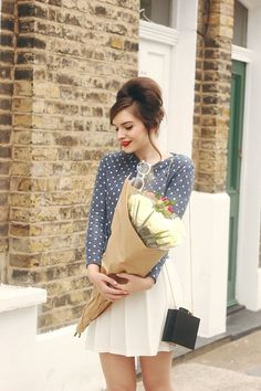 whatoliviadid, fashion, style, outfit, summer, spring, flowers, 60s, polka dot, beehive, hairstyle, make up