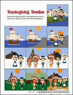 Thanksgiving timeline you can print off and work together after you read through your favorite storybook about the Pilgrims.