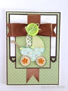Handmade Baby Announcement Card on etsy what a lovely idea