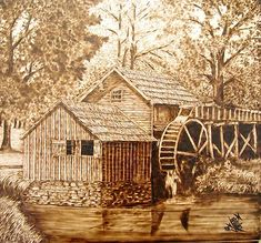 Wood-Burning+Art | the old mill by don worden pyrography on wood panel image courtesy of ...