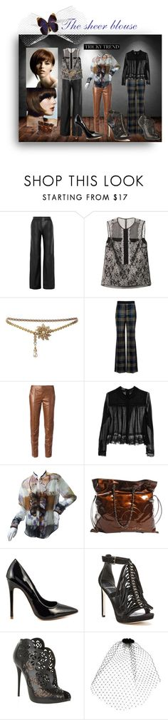 """""""TRICKY TREND THE SHEER BLOUSE"""" by dawn-lindenberg ❤ liked on Polyvore featuring WALL, ADAM, Erdem, Chanel, Sonia Rykiel, Gucci, Meadham Kirchhoff, Etro, Shoe Republic LA and GUESS by Marciano"""