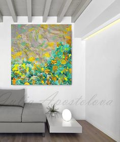 Yellow and Green Abstract Painting Modern Art Print Spring