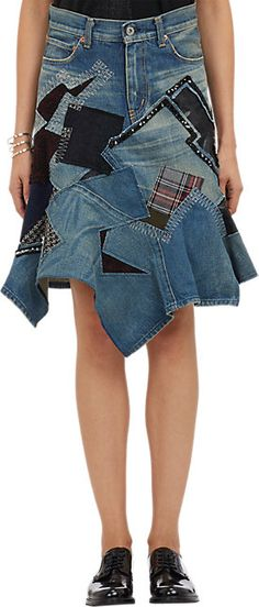 Junya Watanabe Comme des Garçons Mixed Patchwork Denim Skirt - Knee Length - Barneys.com