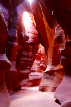 "Antelope Canyon in Arizona, United States -- Located near Page, Ariz., this brilliant slot canyon is split into two different sections, commonly referred to as ""The Crack"" and ""The Corkscrew."""
