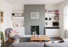 Small Home in Grey Shades // Мъничък дом в сиви нюанси 79 Ideas. I like the grey feature chimney breast in this white lounge with dark floorboards Home Living Room, Apartment Living, Living Room Designs, Living Room Without Fireplace, Living Room Fire Place Ideas, Living Room Layout With Fireplace And Tv, Apartment Ideas, Small Living Room Ideas With Tv, Alcove Ideas Living Room