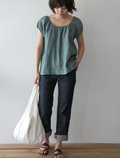 Linen blouse and jeans