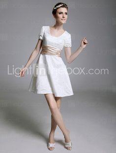 satinée une ligne encolure carrée robe de cocktail courte / mini  76.09