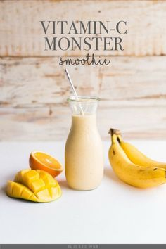 VITAMIN-C MONSTER SMOOTHIE- bananas, strawberries, oranges, apples. papaya, carrot, kale, chia seeds, acai, pomegranate, mango, pumpkin seeds, greek yogurt, dark chocolate, coffee, quinoa, maple syrup, peanut butter, avocado, goji berries, coconut, peaches, pineapple + more - THESE 7 HEALTHY SMOOTHIES TASTE DELICIOUS BUT MORE IMPORTANTLY ARE SUPER HEALTHY! FIND OUT HOW YOU CAN MAKE THEM TODAY!