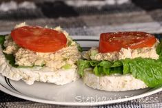CHICKEN SALAD RICE CAKE SANDWICHES Servings: 1 Prep Time: 5 minutes | Stephanie.Fitness