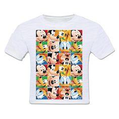 camiseta infantil moda criança disney personagens mickey mouse pato donald pateta pluto mosaico