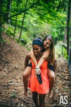 Because you always carry each other. | 37 Impossibly Fun Best Friend Photography Ideas