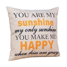 """[Visit to Buy] Ouneed """"You are my Sunshine """"Cotton Linen Leaning Cushion Throw Pillow Covers Pillowslip Case 2017 Gift Drop Vintage Pillow Cases, Throw Pillow Cases, Throw Pillows, Cushion Covers, Pillow Covers, Cushion Pillow, Textiles, Burlap Pillows, You Make Me Happy"""