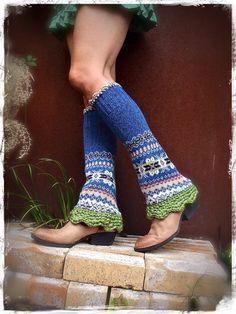 BLUE leg warmers Flared Boho Urban Chicks LEG Warmers by GPyoga, $64.00