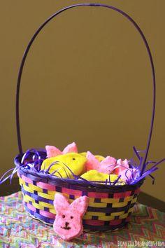 Homemade peeps in basket
