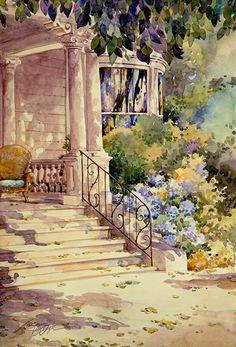 Porch Blues, Ott House Nevada City, watercolor Jerianne Van Dijk