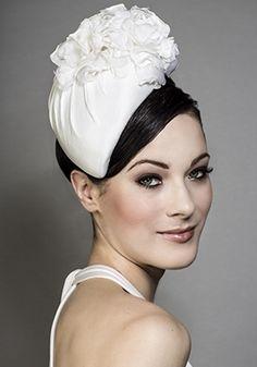 Rachel Trevor-Morgan Millinery - Silk taffeta teardrop pillbox with silk flowers. #passion4hats