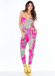 Princess Of Paisley Strapless Jumpsuit - GoJane.com