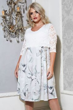 47100f8b85 YOURS LONDON White   Grey Floral Print Lace Overlay Midi Dress