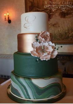 Rose Gold / Hunter Green and Marbled Wedding Cake by K Noelle Cakes . - Rose Gold / Hunter Green and Marbled Wedding Cake by K Noelle Cakes cake - Wedding Cake Roses, Black Wedding Cakes, Gold Wedding Theme, Fall Wedding Cakes, Rose Wedding, Chic Wedding, Purple Wedding, Wedding Themes, Floral Wedding