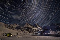 Star trails over South Georgia, Antarctica