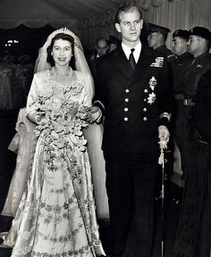 The wedding of Princess Elizabeth to Philip Mountbatten, 1947. Constance Spry    was in charge of the flowers, giving the princess British orchids in a    large, wired bouquet. There were urns of English autumnal flowers in    Westminster Abbey, while pink and white British-grown carnations decorated    the lunch tables at the Palace afterwards.