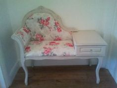 shabby chic hall bedroom telephone chair table seat Rhoose Picture 1