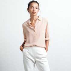 The Silk Rounded Collar - Nude – Everlane