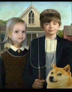 In the art history books of the future. History Books, Art History, American Gothic Parody, Art Eras, Quality Memes, Hilarious, Funny, Beautiful Birds, Laugh Out Loud