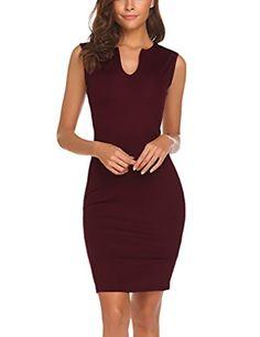 188e10fbc7 Naggoo Women s Business Wear To Work Sleeveless V Neck Bodycon Pencil Dress