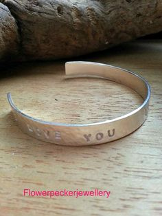 Silver Cuff Bangle Personalized Sterling Silver by flowerpecker
