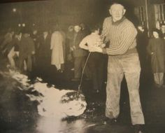 Early fireball swinger at Stonehaven (NE Scotland, south of Aberdeen) - annual Hogmanay fire walk, swinging balls of fire around their heads to usher out the old year and bring in the new - spectacular to watch