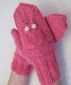 Hand Knitt Owl Mittens Women Mittens Pink Owl by evefashion, $29.00