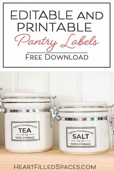 Update your kitchen pantry with these free editable and printable food storage labels. Designed to work with Avery Labels to save time and frustration, so you can focus on your organization project. Diy Kitchen Soap, Kitchen Labels, Pantry Labels, Kitchen Pantry, Kitchen Ideas, Pantry Inspiration, Spice Jar Labels, Organizing Labels, Food Storage