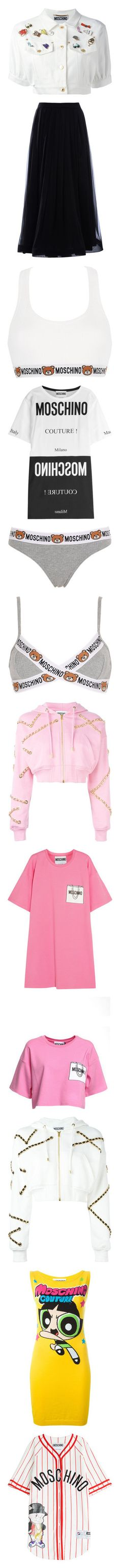 """""""Moschino"""" by melissa-piv ❤ liked on Polyvore featuring outerwear, jackets, tops, moschino, cropped jacket, white jean jacket, embellished jacket, embellished jean jacket, jean jacket and skirts"""