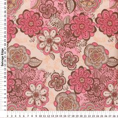 "floral print fabrics from the UK | 60"" Polyester Prints - Antique Coral Floral on Polyester Fabric"